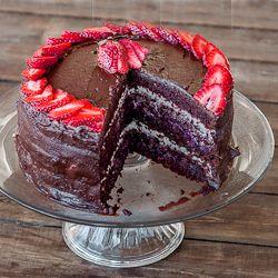 berries and chocolate cake