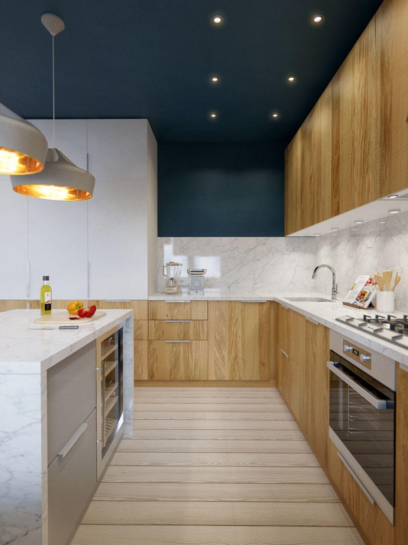 Cuisine en bois blond le plafond peint en bleu sombre apporte de la hauteur et donne l - Plafond de cuisine design ...