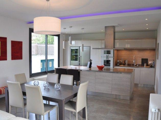 Cuisine contemporaine ouverte sur salon et salle à manger cuisine - Cuisine Ouverte Sur Salle A Manger Et Salon