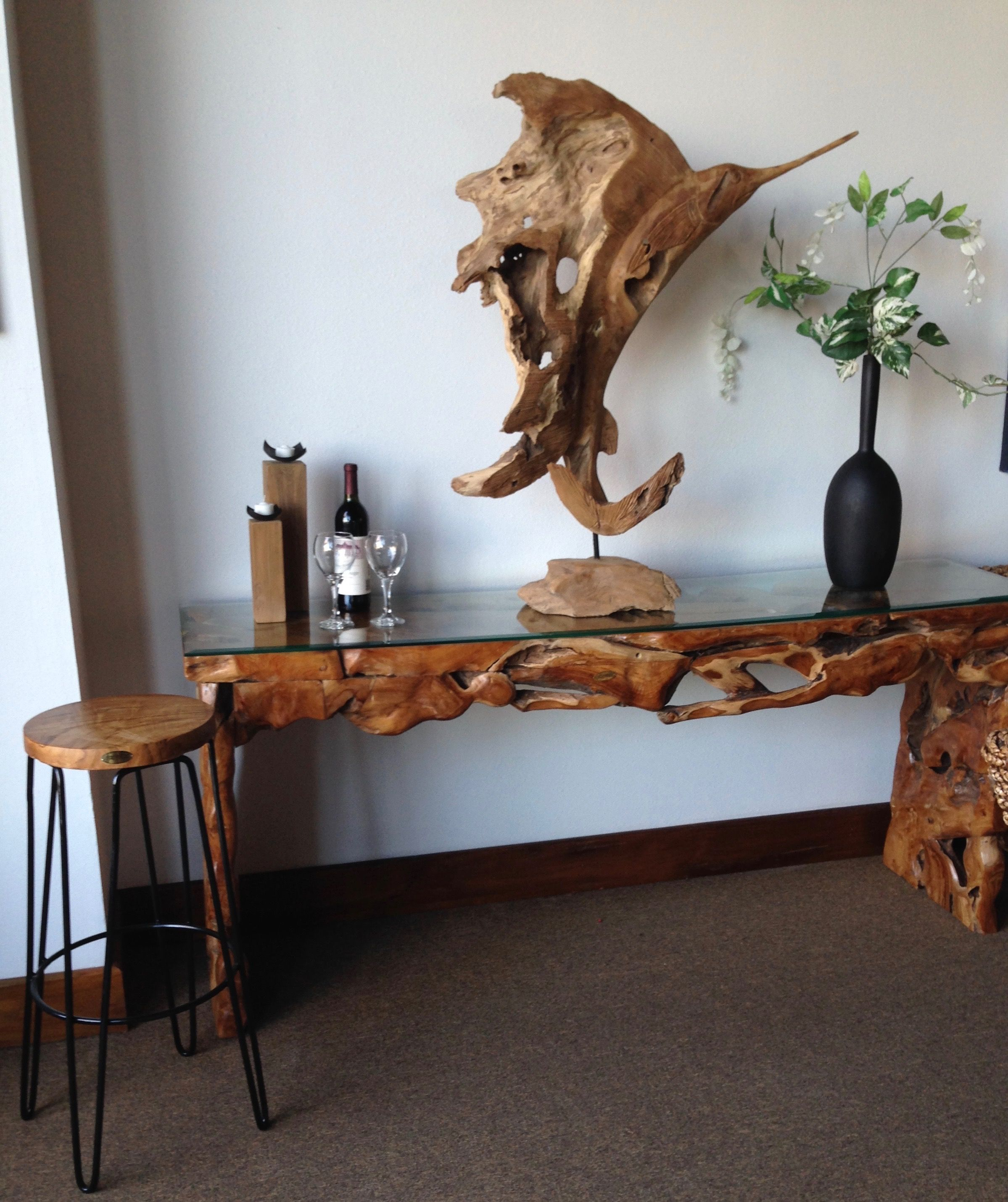 Teak Wood Root Console Table With Glass Top 72 Inches Furniture