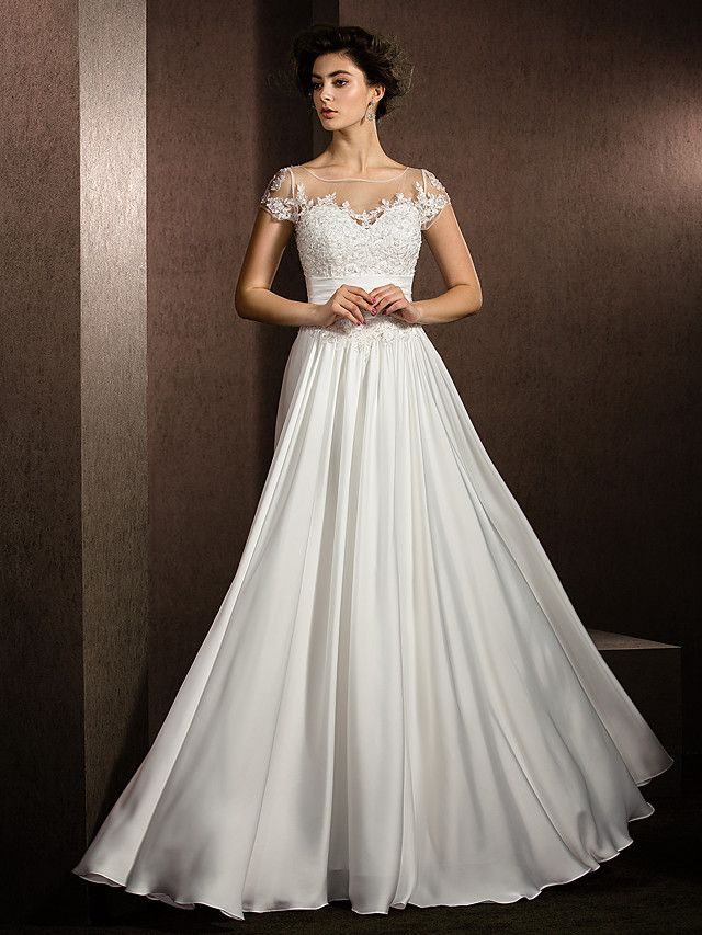 A Line Scoop Neck Floor Length Satin Chiffon Short Sleeve See Through Made To Measure Wedding Dresses With Beading Appliques 2020 Illusion Sleeve A Line Wedding Dress Beautiful Wedding Dresses Online Wedding Dress,Wedding Dress Styles With Sleeves