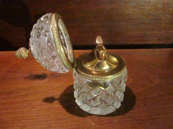 Superb Vintage Table Lighter In Crystal Bowl Crystals Crystal Bowls Antique Glass