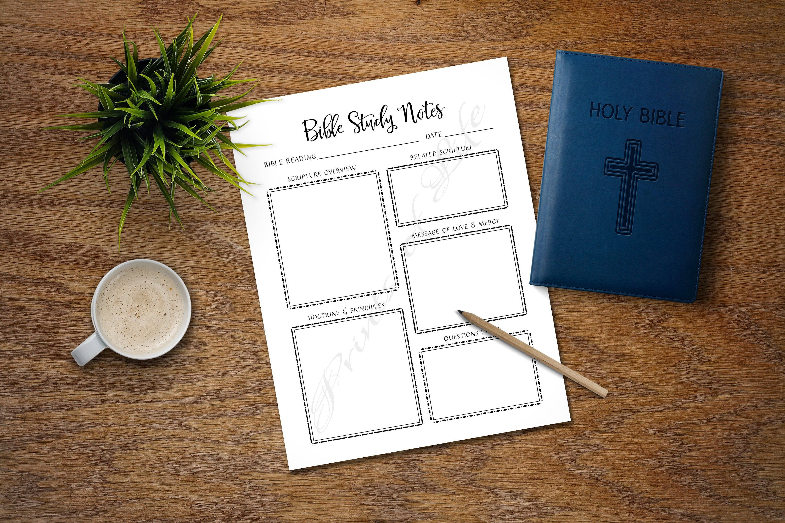 Bible Study Notes Printable Instant Download Church