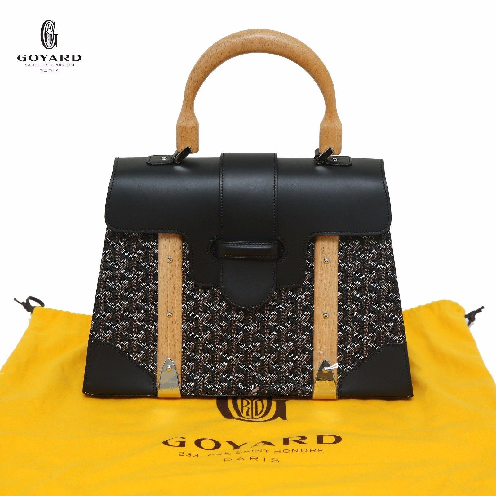d1487d5cc12c GOYARD Chevron Saigon MM Black Leather & Canvas Tote Wooden Handle Retail  6500$