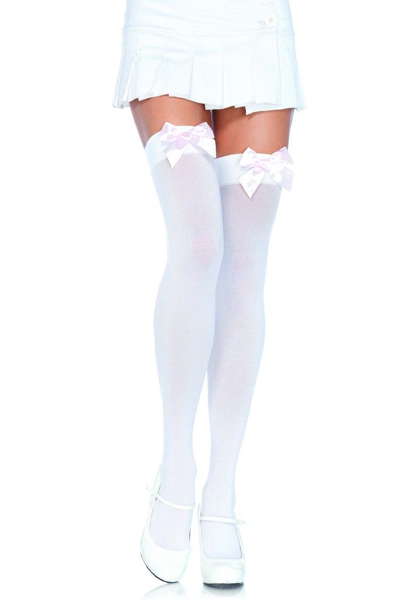Pirate Crossbone Over The Knee Socks Hold up Opaque Stockings  Pink Bow