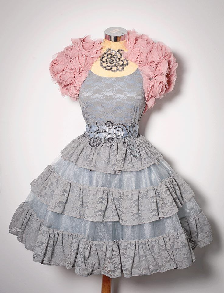 Grey Frilly Party Dress with Pink Ruffled Bolero from Chotronette ...