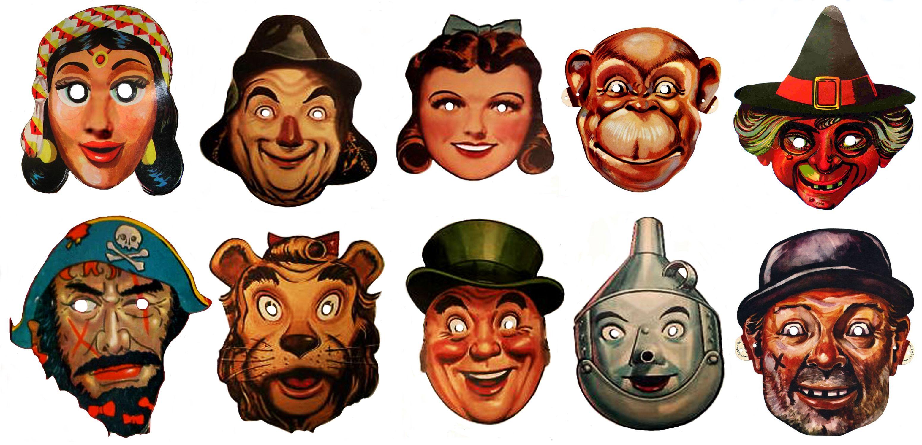 Vintage Halloween Masks Wizard Of Oz Paper Mask Creepy Vintage