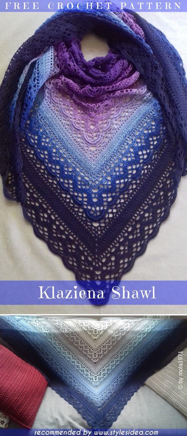 Klaziena Shawls Crochet Patterns Free Collection | Pinterest ...