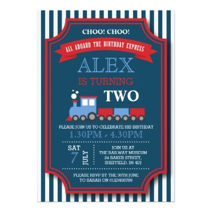 Train themed birthday party invitation Themed birthday parties
