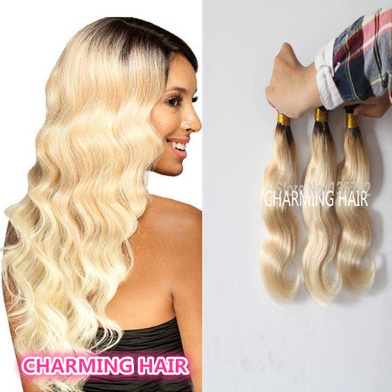 Brazilian Body Wave Dark Roots Blonde Virgin Hair 3 Bundles 100 8a
