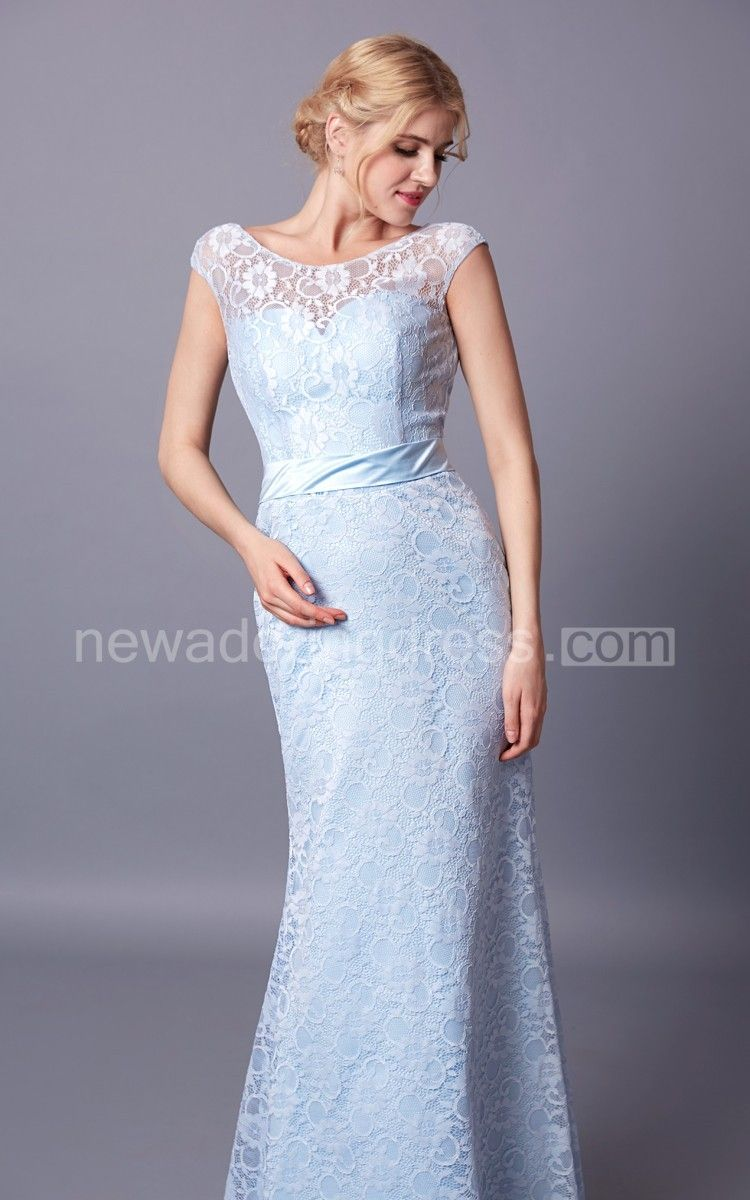 Radiant capsleeved bateau neck lace gown with deep vback