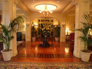 Entry way at the Wentworth by the sea hoel, Brazilian Cherry stained ebony and Santos Mahogany.