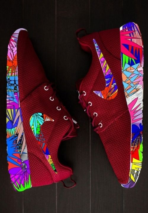 shoes trainers sneakers nike bright nike floral exotic colourful burgundy  nike roche run nike roshe run maroon roshe runs, sneakers, colorful  beautiful ...