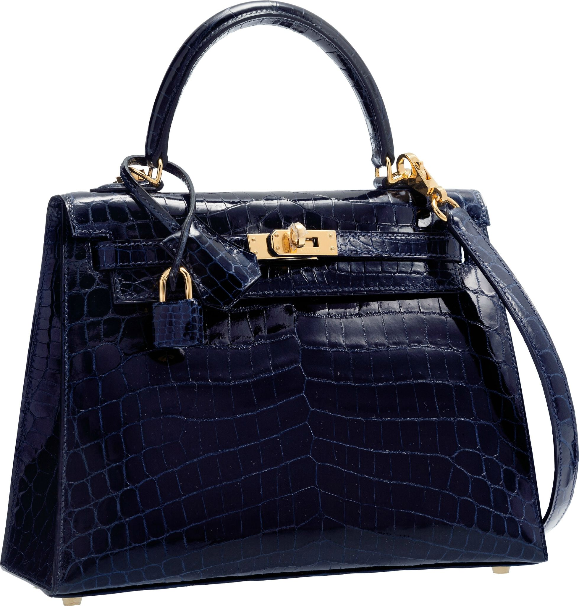 f6a5fe14b8c9 Hermès 25cm Shiny Blue Marine Nilo Crocodile Sellier Kelly Bag with Gold  Hardware.