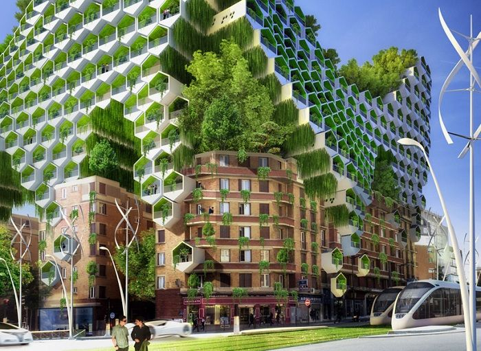 Honeycomb towers. Футуристический проект озеленения Парижа. Башни в виде пчелиных сот смогут увеличить жилую площадь в уже существующих домах в центре Парижа. Стальные конструкции будут крепиться на дымоходах. На крышах будут установлены фотоэлектрические панели, которые будут вырабатывать электроэнергию для уличного освещения.