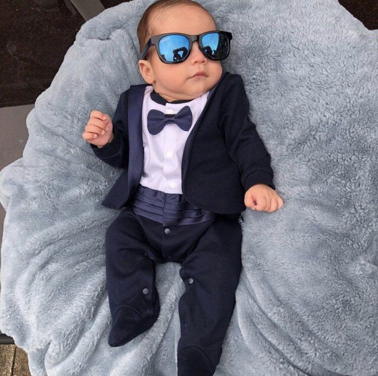 Baby Toddler Boy Tuxedo with Bow Tie Suit Clothes Outfit for Wedding Christening