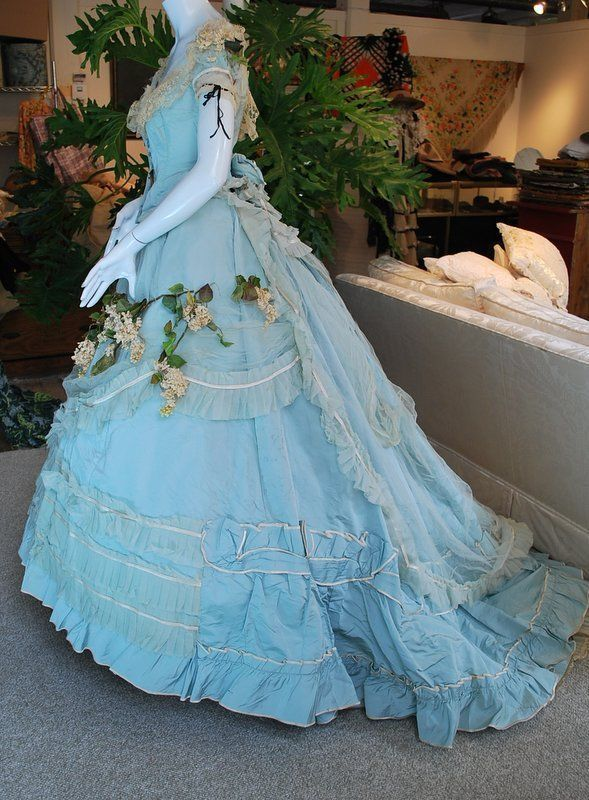 Robins Egg Blue Silk Wedding Gown With Train Matching Shoes