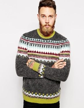 ASOS Fairisle Jumper in Brushed Texture | Men's | Pinterest ...