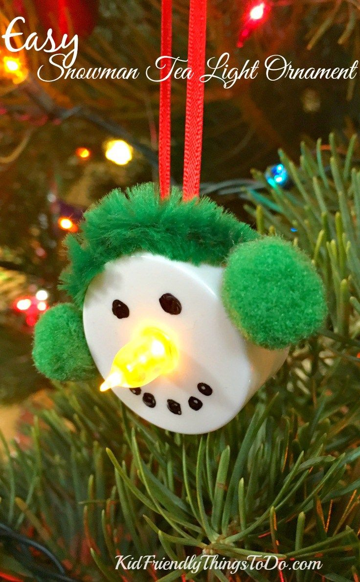 Easy Snowman Tea Light Ornament Craft Easy Christmas Ornaments Tea Light Crafts Christmas Ornament Crafts