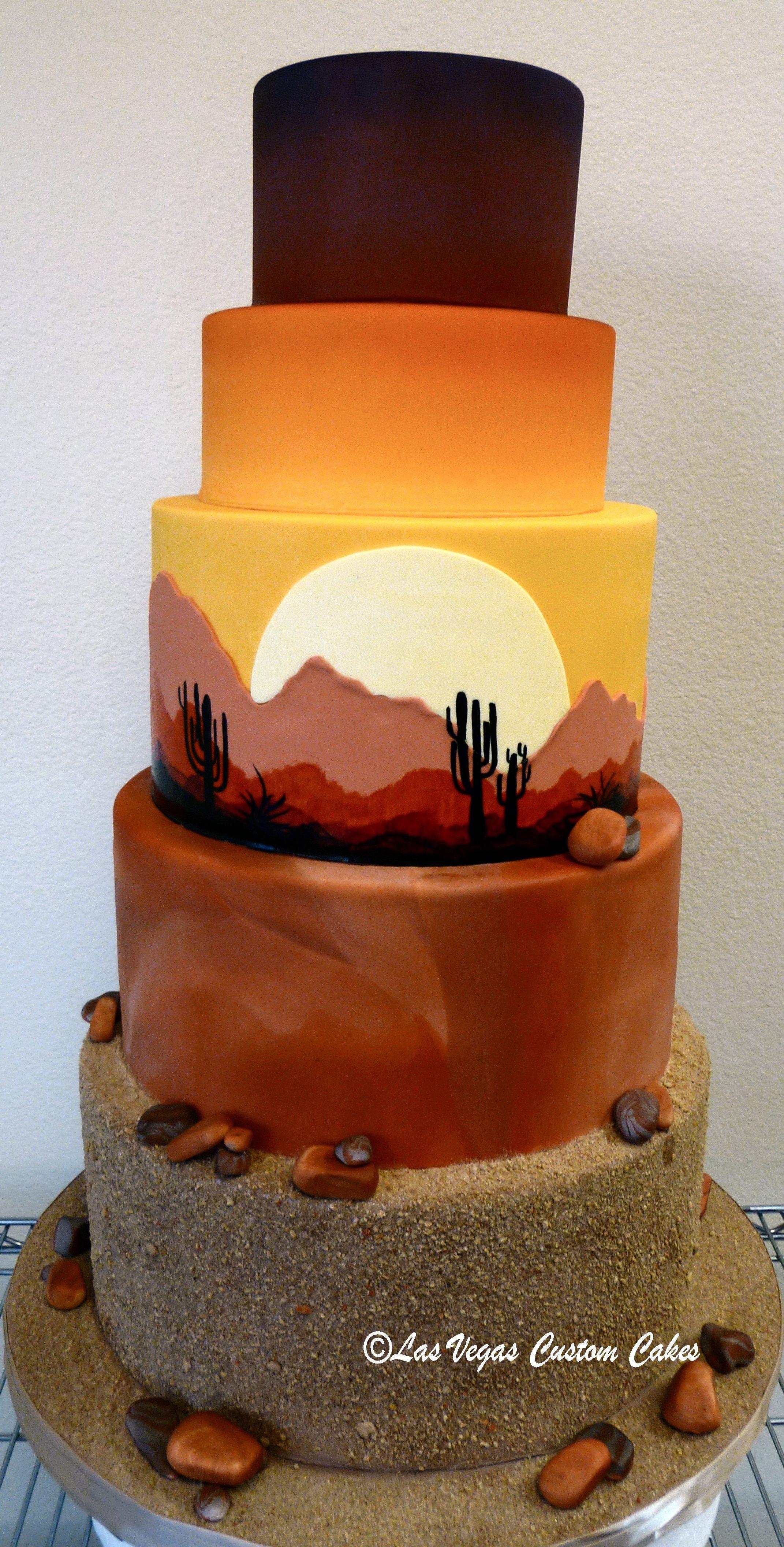 unique wedding cake with a sunrise desert scene made by las vegas