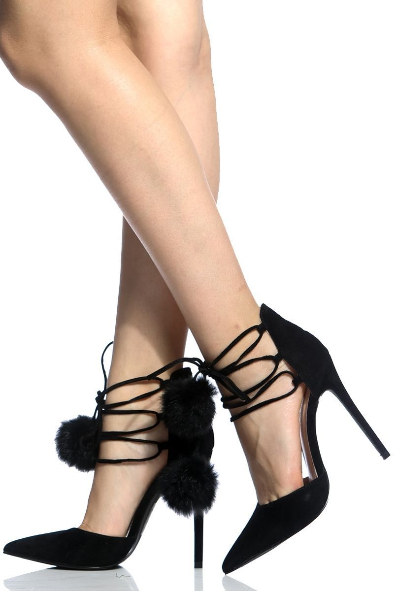 bc22aa7aa71 Black Faux Suede Lace Up Pointed Toe Heels   Cicihot Heel Shoes online  store sales