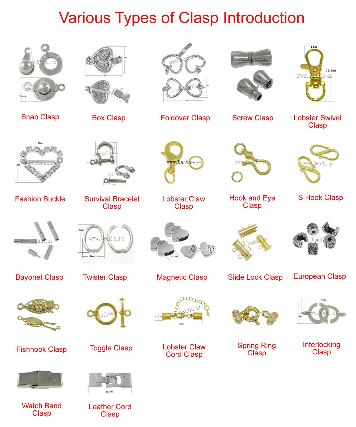 Various Types Of Clasp Introduction Jewelry Clasps Tools Beaded Bracelets
