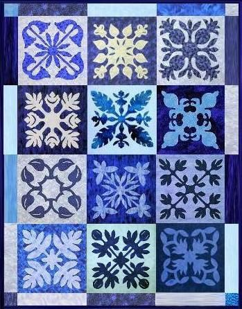 Blue Hawaii - Samplerquilt Muster / Pattern | Quiltmuster/Quilting ...