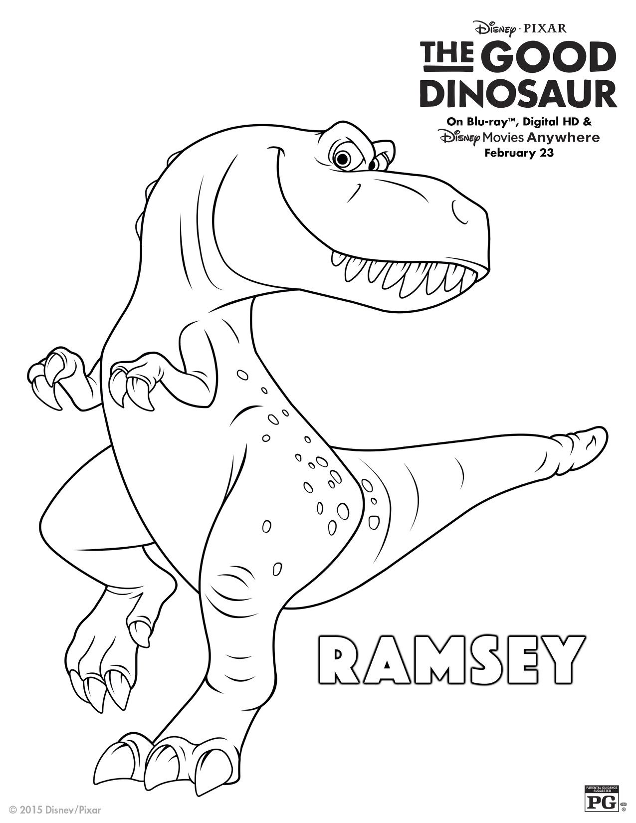 Disney The Good Dinosaur Ramsey Coloring Page | Printable Coloring ...