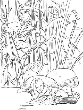 Miriam And Baby Moses Coloring Page With Images Coloring Pages