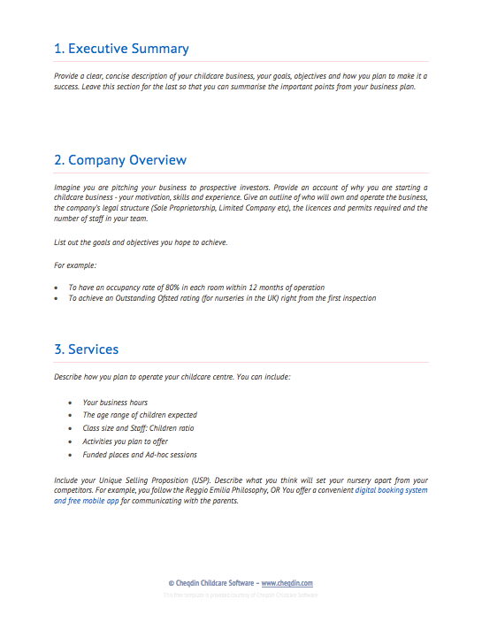 Free Business Plan Templates For Nurseries Preschools And