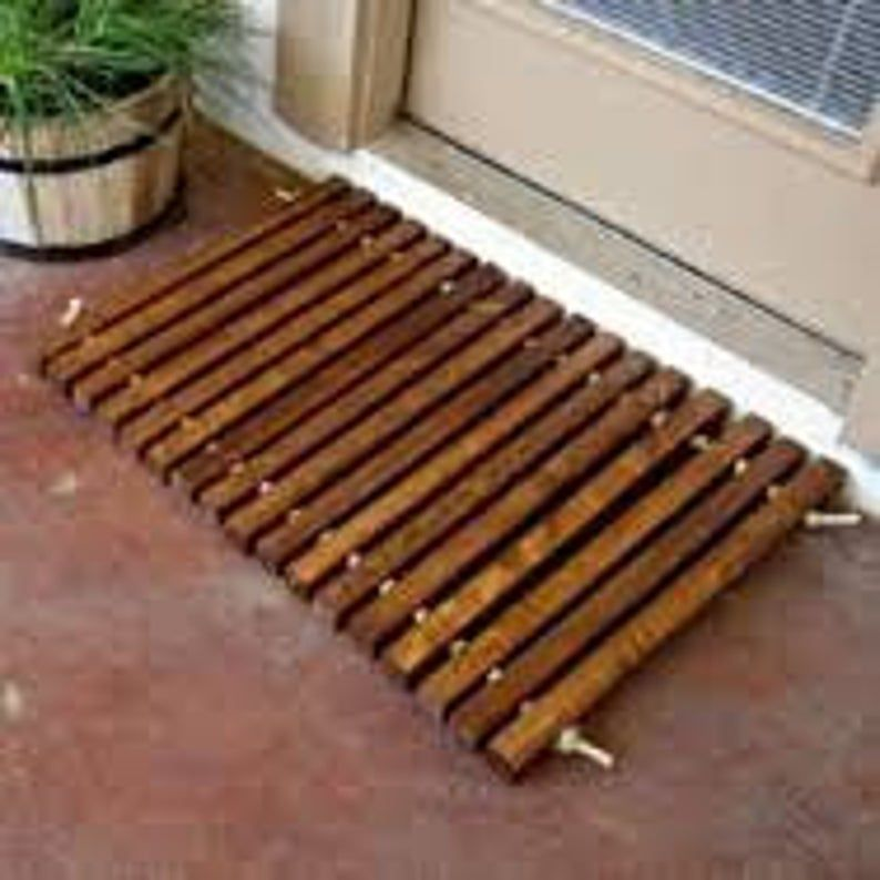 Welcome door mat, wood door mat, slat mat, rustic