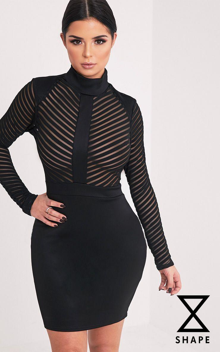 Shape Paris Black Mesh Top Panel Mini Dress Black Mesh Top Dresses Mesh Dress [ 1180 x 740 Pixel ]