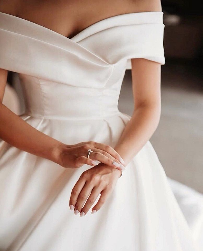 79 Beautiful Simple Wedding Gowns That Will Leave You Speechless, off the shoulder wedding dress,deep plunging neckline wedding dress,long sleeves wedding dress #simpleweddingdress #weddingdress #weddinggown