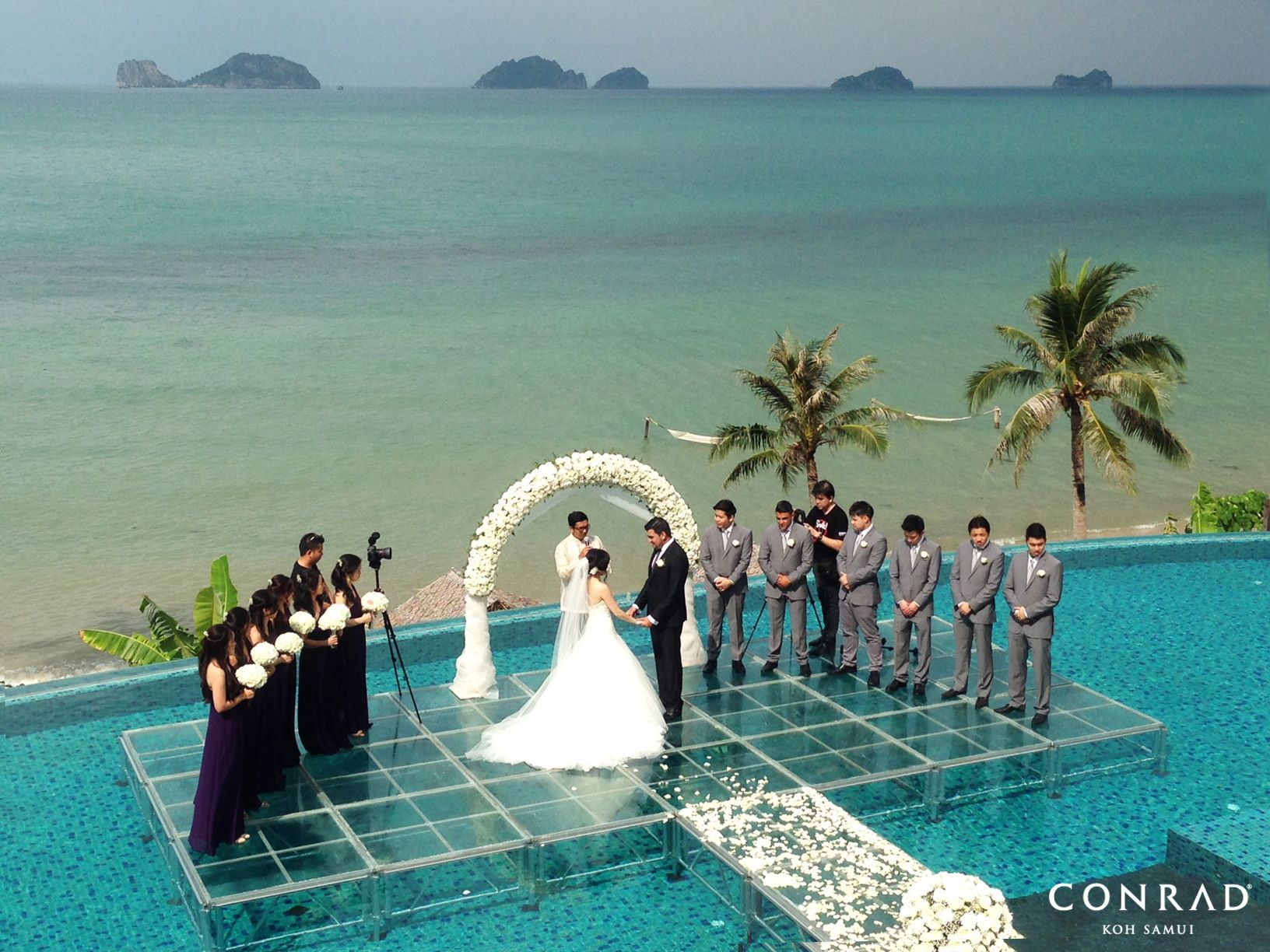 Over Water Wedding Ceremony At Conradkohsamui Kohsamui Samui Thailand