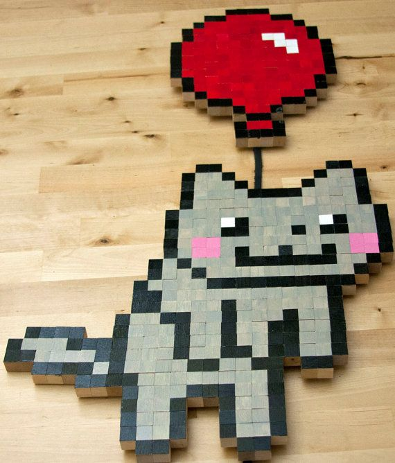 Happy Cat 8-bit Wall Art | Office | Pinterest