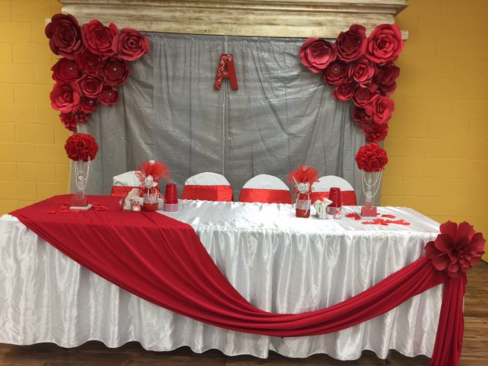 Red Silver Themed Quinceanera Silver Wedding Decorations Red