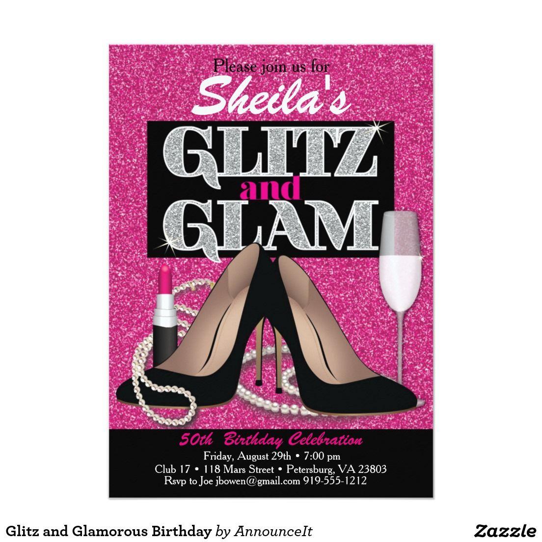 Glitz and Glamorous Birthday Invitation