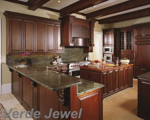 granite with cherry cabinets in kitchens this granite is called verde the colors in the 8344