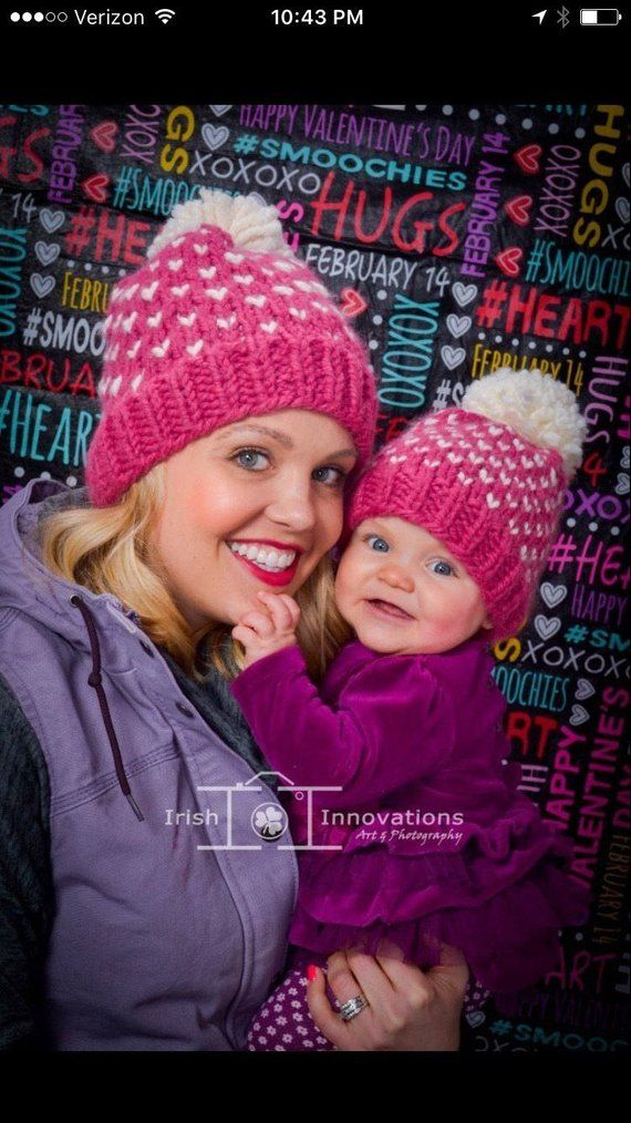 Mommy and Me Matching Pom Hats 89408fc96c5
