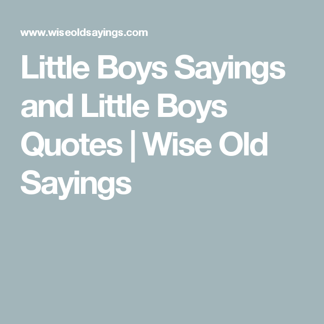 Little Boys Sayings and Little Boys Quotes Wise Old