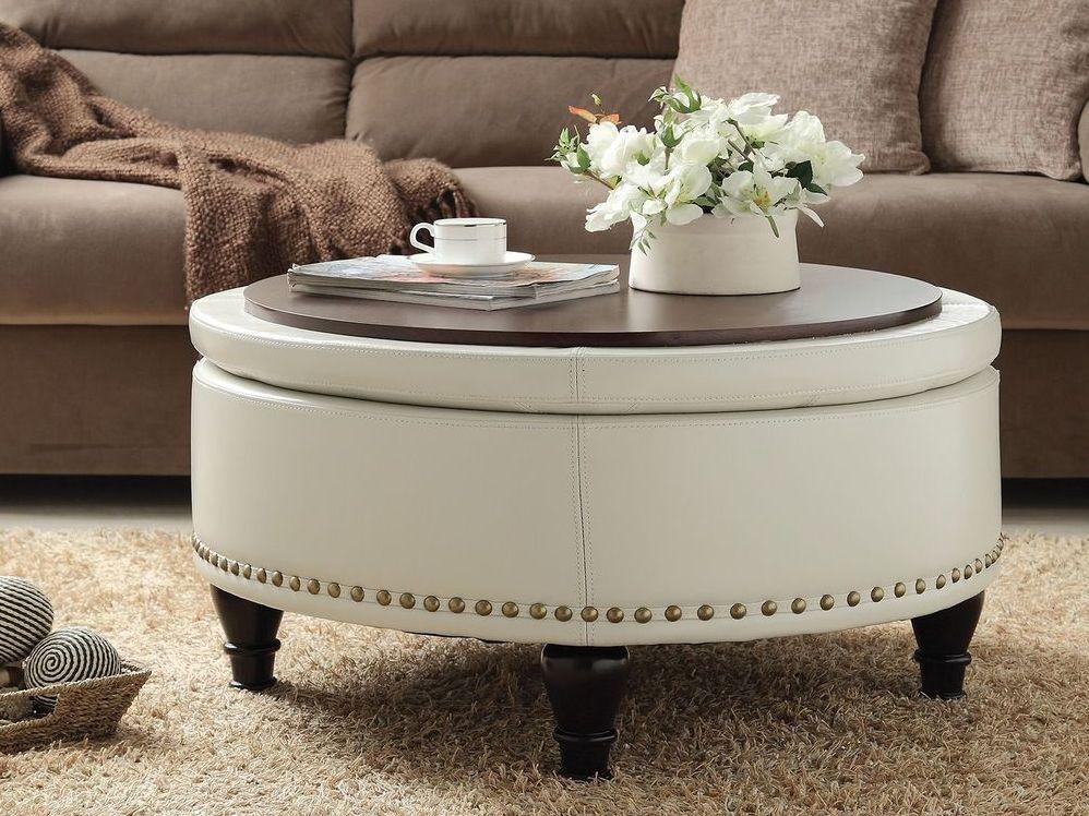 White Leather Ottoman Coffee Table Tray Coffee Tables In 2020 Round Ottoman Coffee Table Leather Ottoman Coffee Table Storage Ottoman Coffee Table