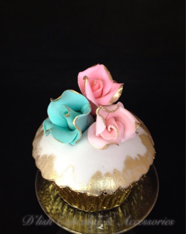Blue, Pink, Gold Rose Cupcakes