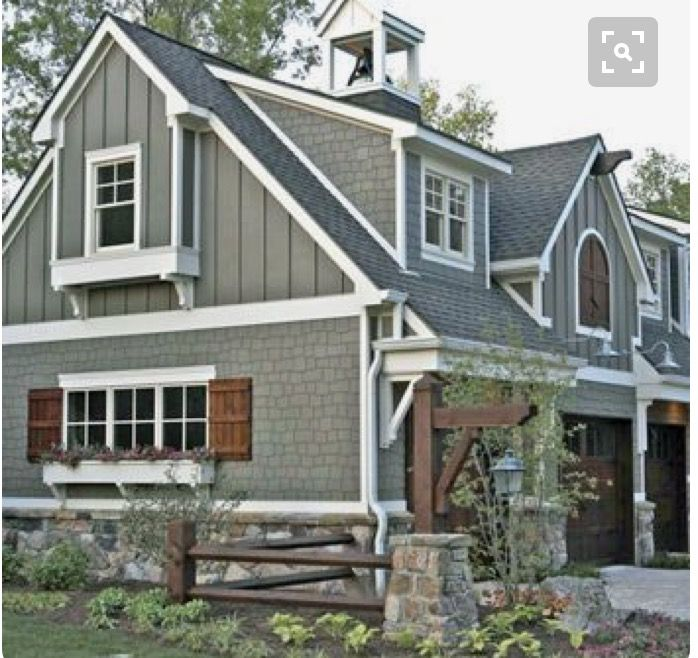 Grey And White With Wood Trim Farmhouse Modern Farmhouse Exterior Exterior Paint Colors For House House Paint Exterior