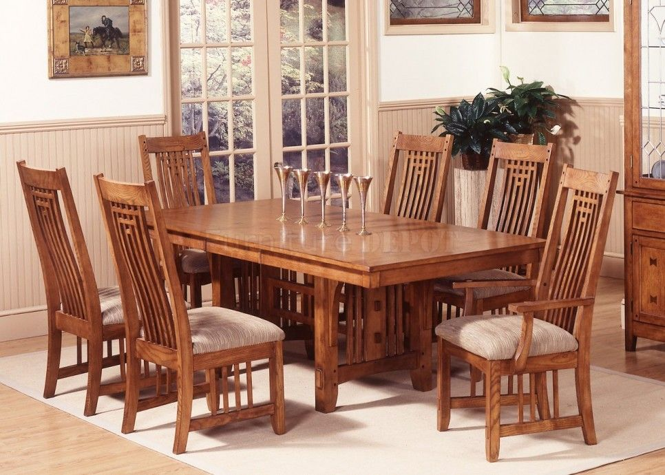 Dining Room 7 Pieces Oak Mission Style Dining Room Set With