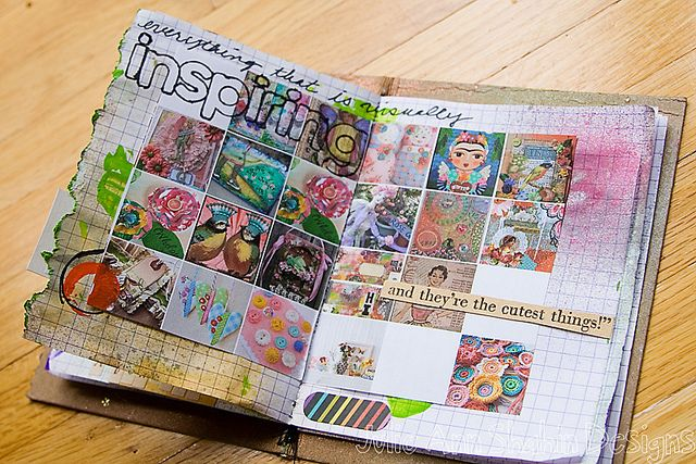 Imagine a journal page with all your stitched or painted inchies/tiny squares!   journal page inchies - julie ann shahin