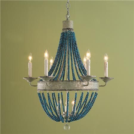 White wood beads and iron basket chandelier cerulean shades of light beaded basket chandelier aloadofball Gallery