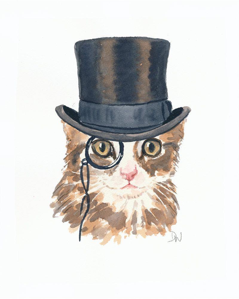 Kitten Watercolor Original Cat Watercolour Painting Monocle Top