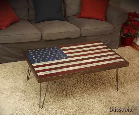 Stars and Stripes Coffee Table with Hairpin Legs by Blissopia ...