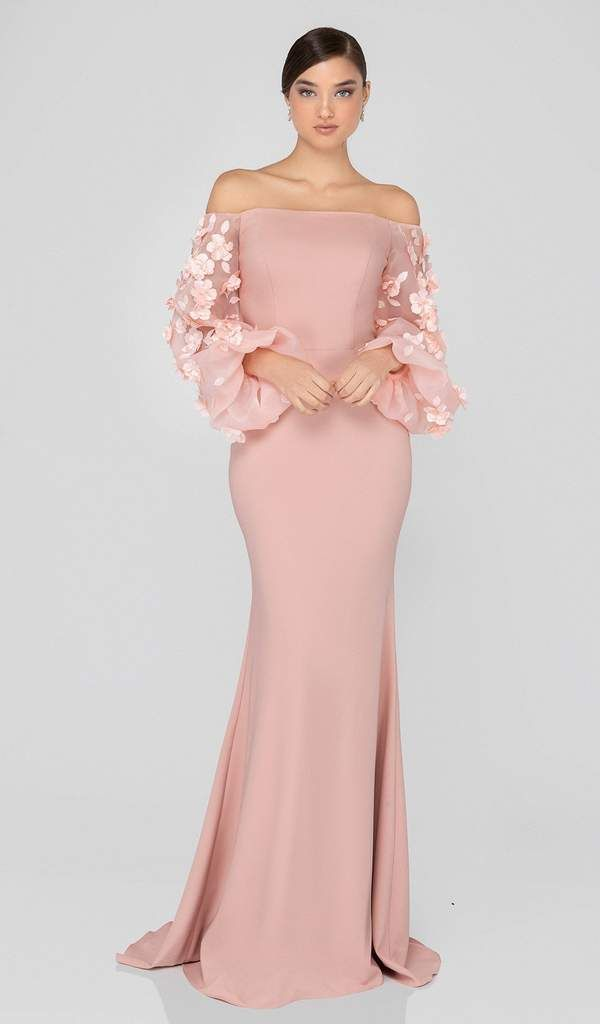 Terani Couture 1911E9128 Offshoulder Floral Accent Puff