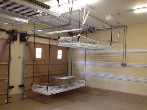 A Pulley System For Storage In The Garage Traditional Garage And Shed By Inviting Diy Overhead Garage Storage Overhead Garage Storage Garage Storage Shelves